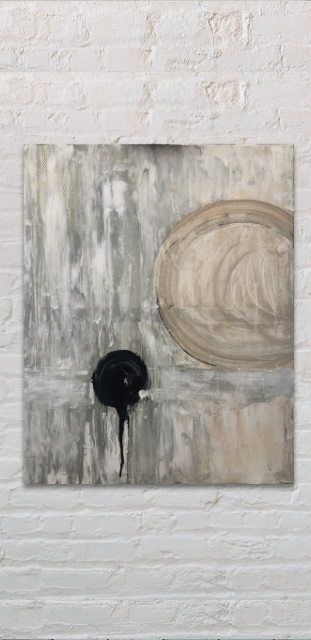 'balance' painting on white brick wall